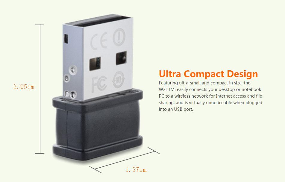 آداپتور شبکه USB بیسیم بسیار کوچک W311MI