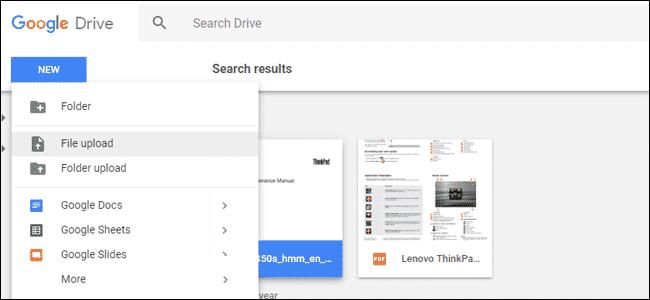 آپلود فایل در گوگل درایو