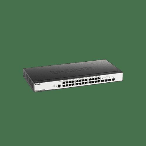 سوییچDGS-3000-28L دارای 24 پورت گیگابیتی شبکه و 4 پورت گیگابیتی SFP است.