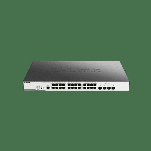سوییچDGS-3000-28LP دارای 24 پورت PoE گیگابیتی شبکه و 4 پورت گیگابیتی SFP است
