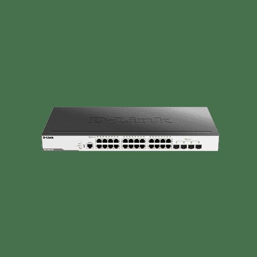 سوییچDGS-3000-28X دارای 24 پورت گیگابیتی شبکه و 4 پورت +10G SFP است.