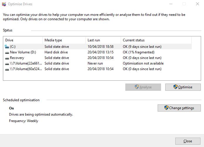 Windows Defrag را فعال کنید