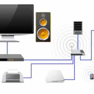 نمایی از یک شبکه کوچک یا خانگی، دستگاه های متعددی به یک سوییچ وصل شده اند