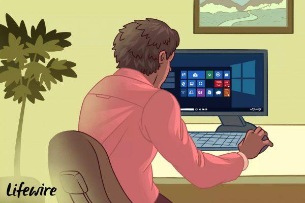 مرد در حال پیدا کردن نسخه های ویندوز