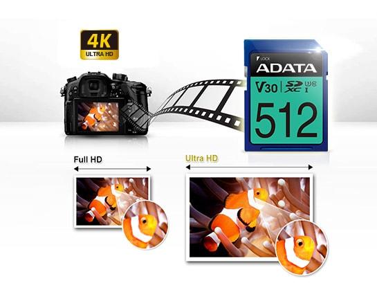 مشخصات کارت حافظه SDXC UHS-I U3 ای دیتا