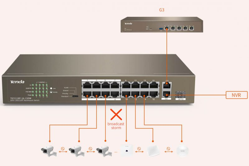 حالت Port-Based VLAN Mode سوییچ tef1118p