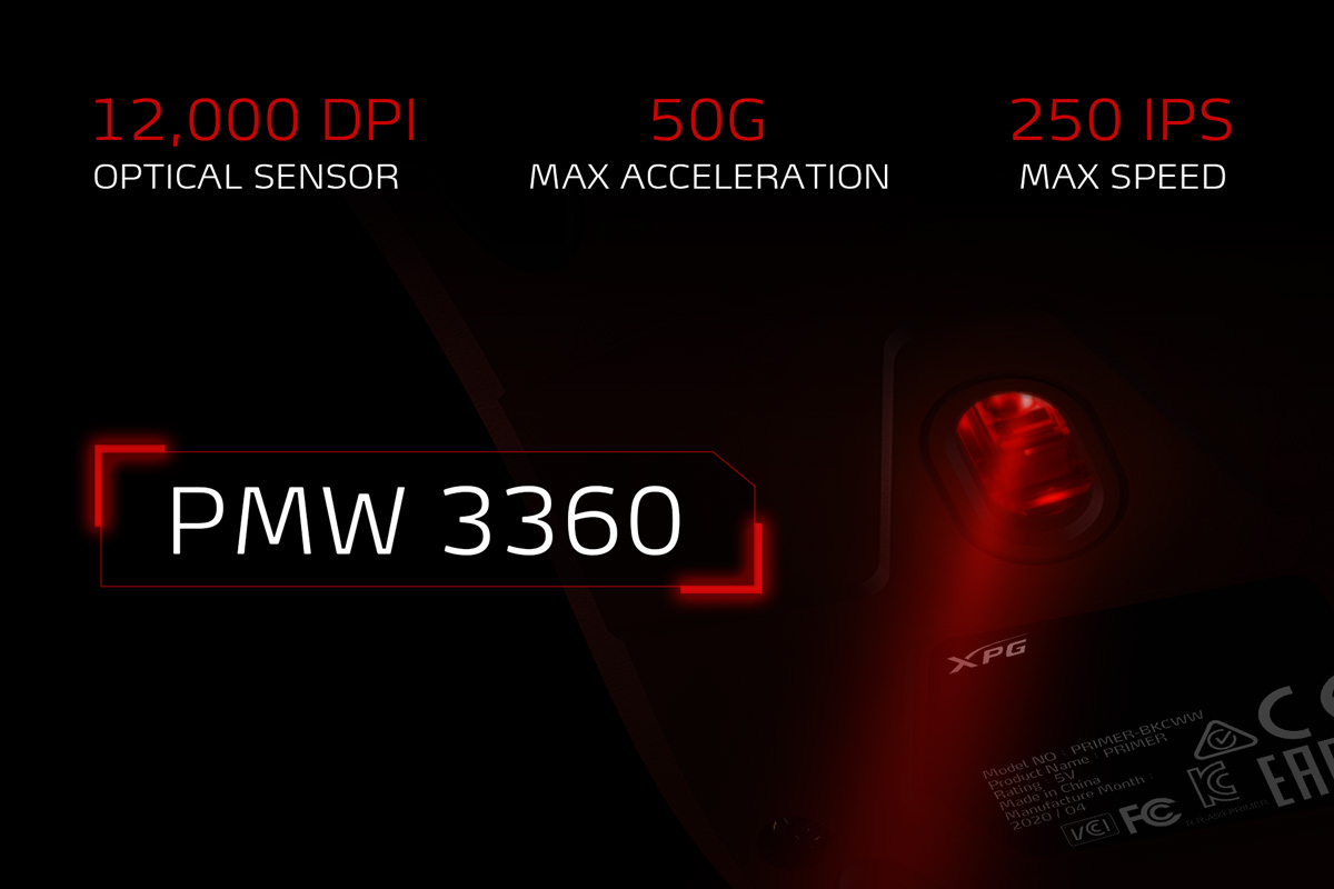 سنسور اپتیکال PMW3360 موس گیمینگ RGB مدل XPG PRIMER