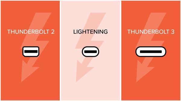تفاوت ظاهری thunderbolt 3 و thunderbolt
