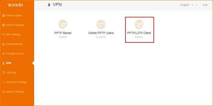 تنظیمات روتر VPN را انتخاب کنید و به PPTP/L2TP Client بروید