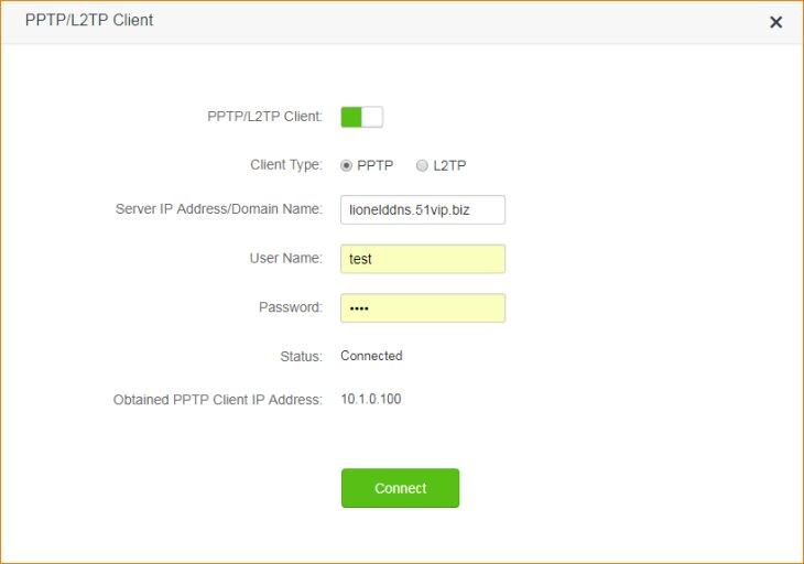 تنظیمات فعال کردن PPTP/L2TP Client