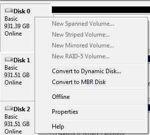 کلیک راست بروی عنوان هارد اکسترنال در Disk Manager