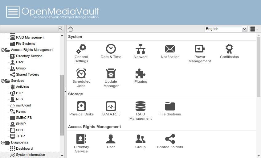 Open media vault سیستم عامل مخصوص NAS