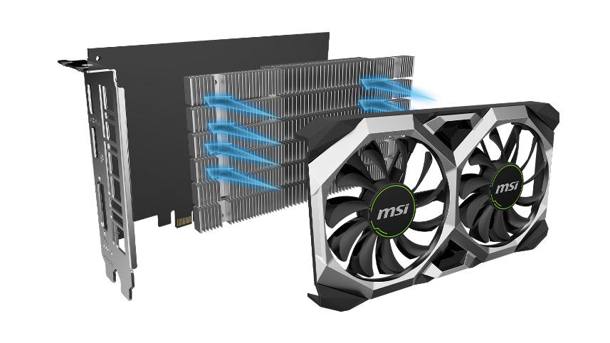 هیت سینک و فن کارت گرافیک ام اس آی GeForce GTX 1650 D6 VENTUS XS OC