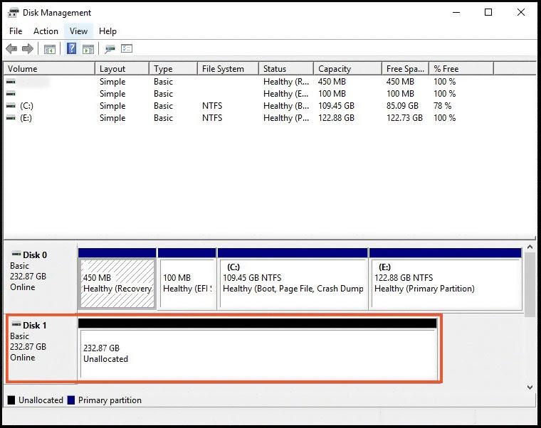 هارد دیسک unallocated در Disk Management