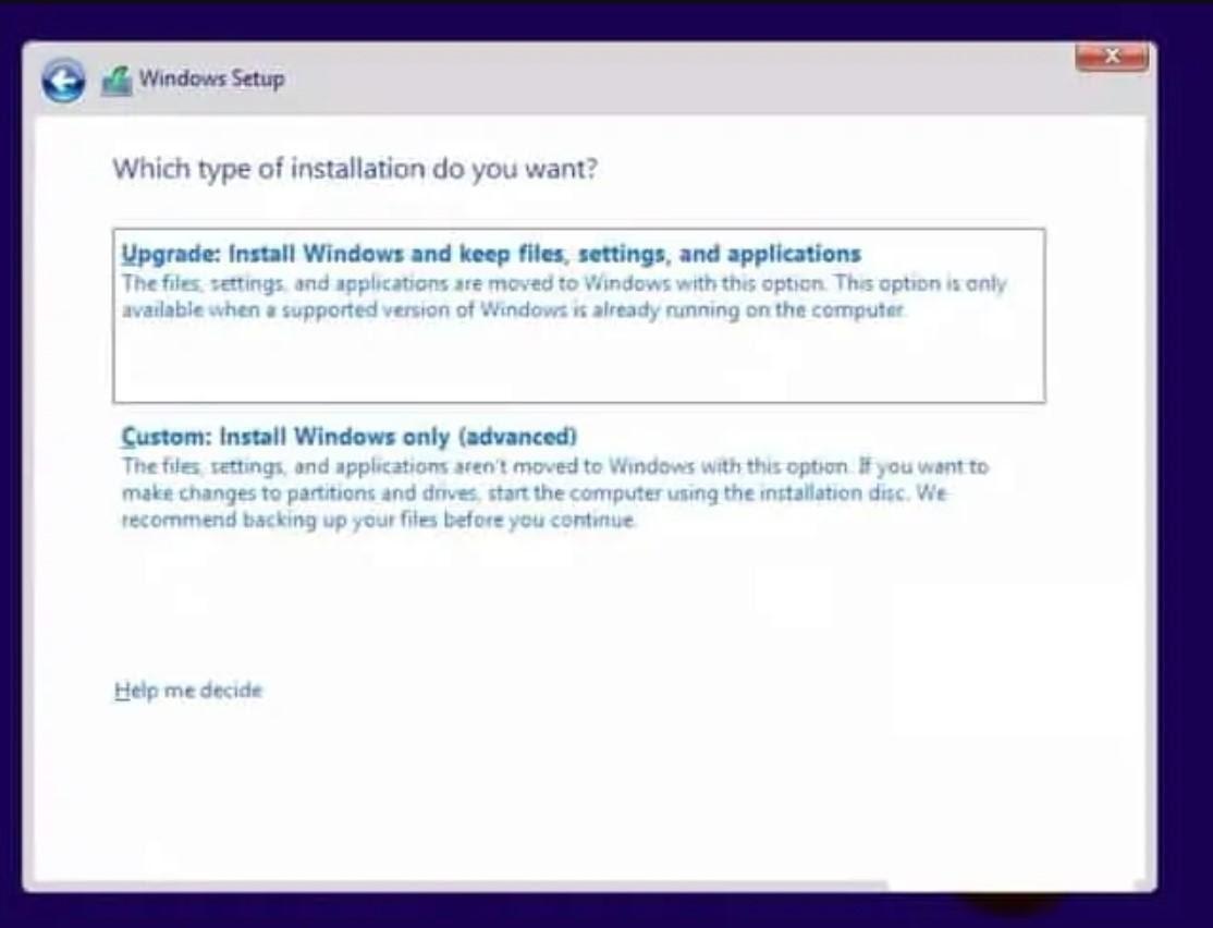 مرحله هشتم نصب ویندوز و انتخاب نوع نصب
