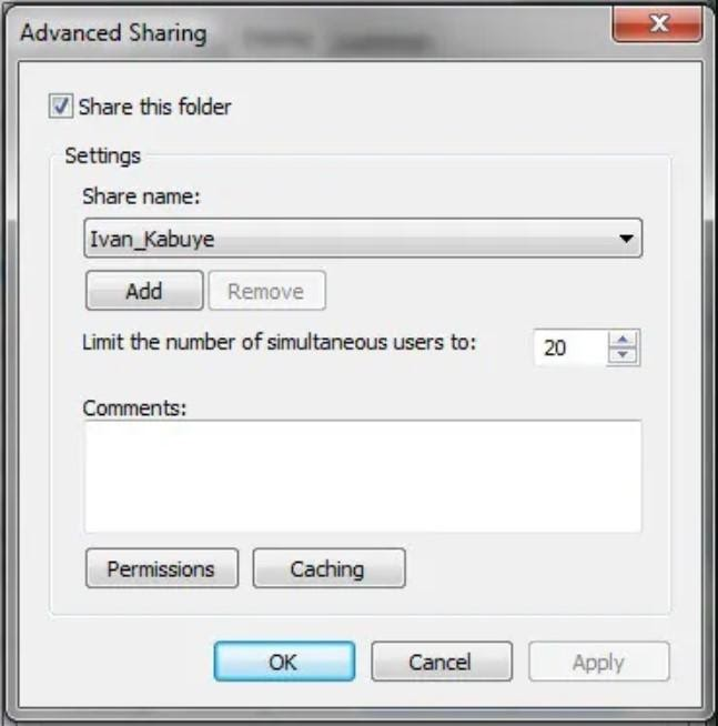 : ایجاد شبکه و انتخاب نام در تنظیمات share