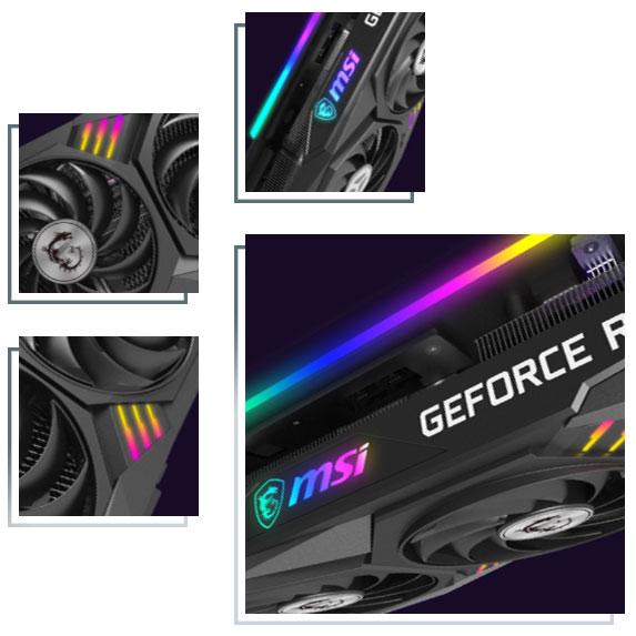تصویر نورهای RGB گرافیک قدرتمند MSI RTX 3070 سری GAMING