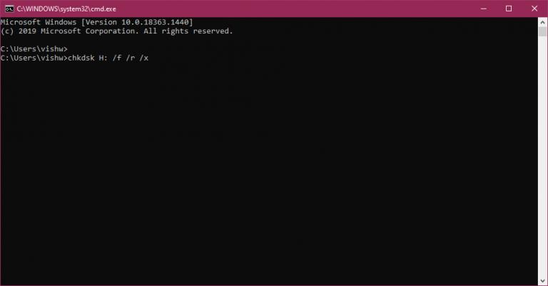 اجرای چک دیسک از CMD
