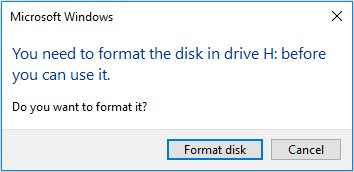 ارور you need to format the disk