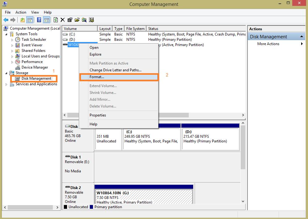 پنجره Disk Management